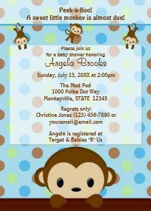 Monkey baby shower invitations zazzle monkey baby shower invitation polka dot blue green filmwisefo