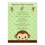 MONKEY Baby Shower invitation Polka Dot GREEN MPP3