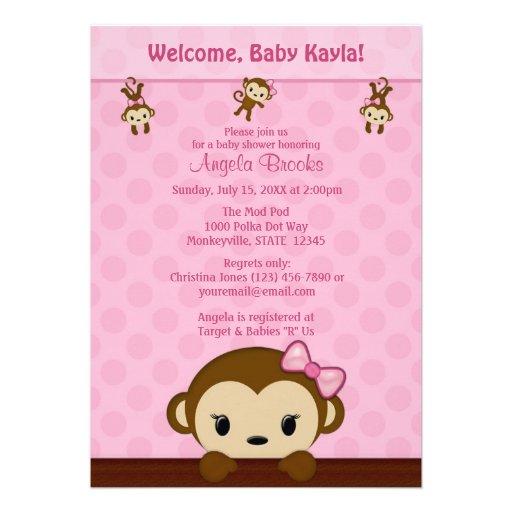 300 pink monkey baby shower invitations pink monkey baby shower