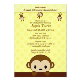 MONKEY Baby Shower invitation Polka Dot YELLOW MPP