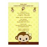 MONKEY Baby Shower invitation Polka YELLOW GIRL
