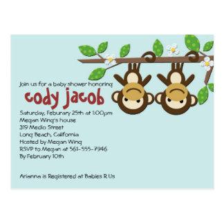 Monkey Baby Shower Invitation Postcard