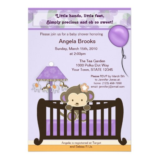monkey baby shower invitation purple 5 x 7 invitation card zazzle