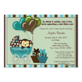 "Monkey Baby Shower Invitation TEAL 5"" X 7"" Invitation Card"