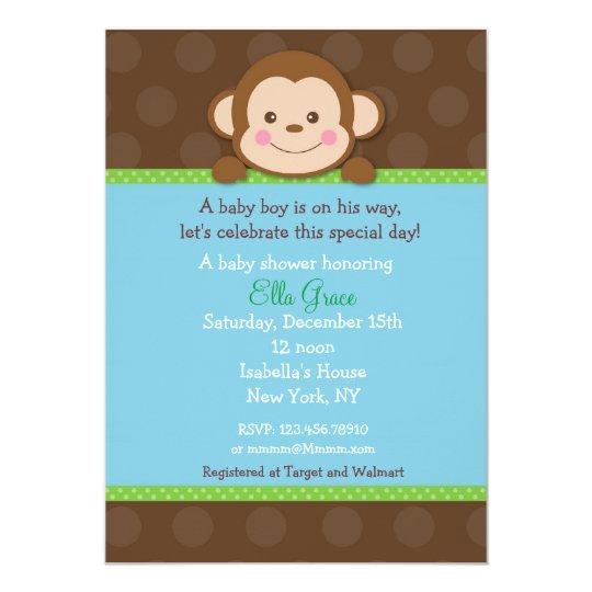 Monkey baby shower invitations boy zazzle monkey baby shower invitations boy filmwisefo