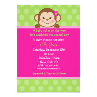 "Monkey Baby Shower Invitations Girl 5"" X 7"" Invitation Card"