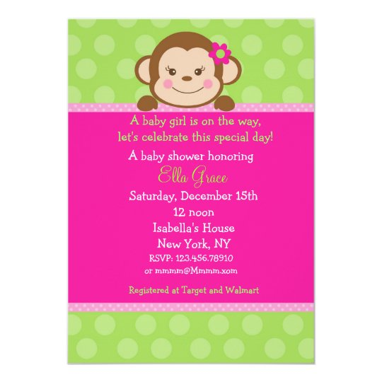 monkey baby shower invitations girl | zazzle, Baby shower invitations