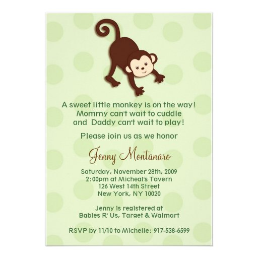 monkey baby shower invitations template 5 x 7 invitation card