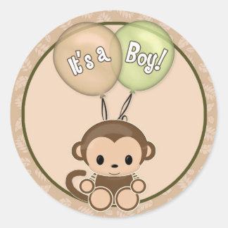 MONKEY Baby Shower It's a boy! label/seal NJM #05A Round Sticker