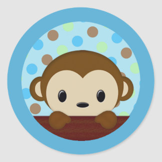 MONKEY Baby Shower Polka Dot BLUE GREEN seal Classic Round Sticker