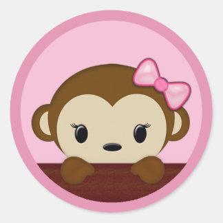 Charming MONKEY Baby Shower Polka Dot PINK GIRL Seal