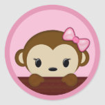 MONKEY Baby Shower Polka Dot PINK GIRL Seal Round Stickers
