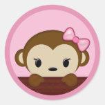 MONKEY Baby Shower Polka Dot PINK GIRL Seal Round Stickers