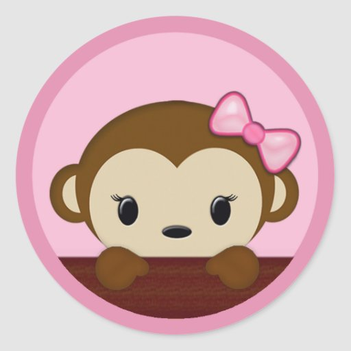 MONKEY Baby Shower Polka Dot PINK GIRL Seal Classic Round Sticker