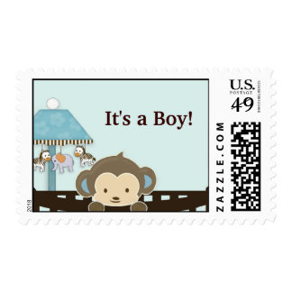 Monkey Baby Shower postage stamp - It s a Boy