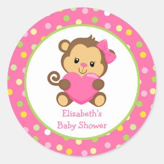 Monkey Baby Shower Sticker, Pink And Green Classic Round Sticker