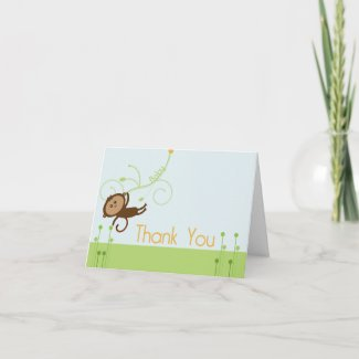 Monkey Baby Shower Thank You Card