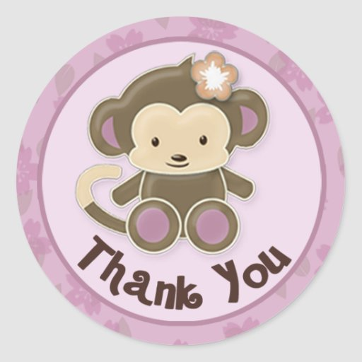 Monkey Baby Shower Thank You Labels Seals Cj O 04 Stickers
