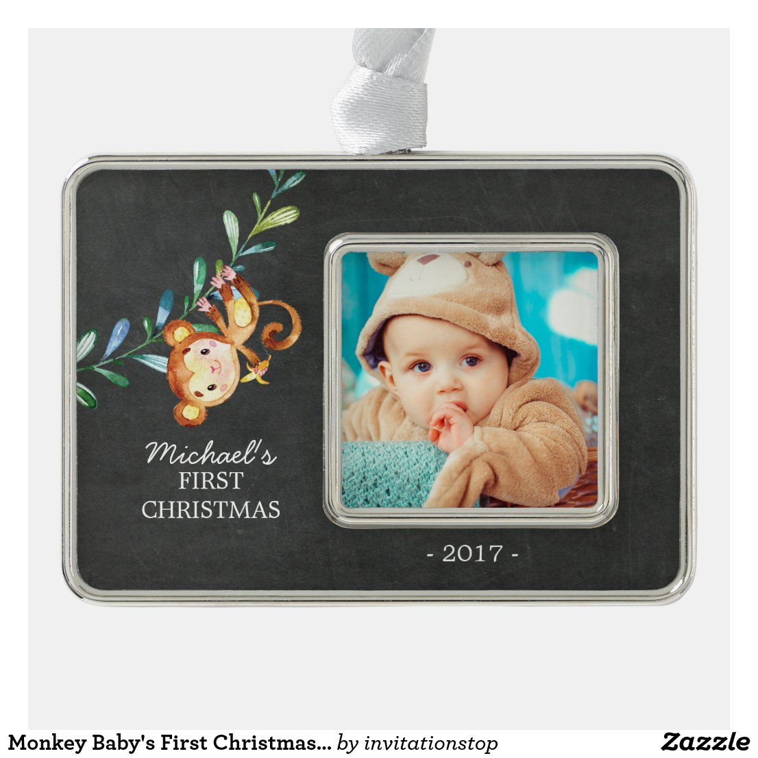 Monkey Baby's First Christmas Photo Ornament