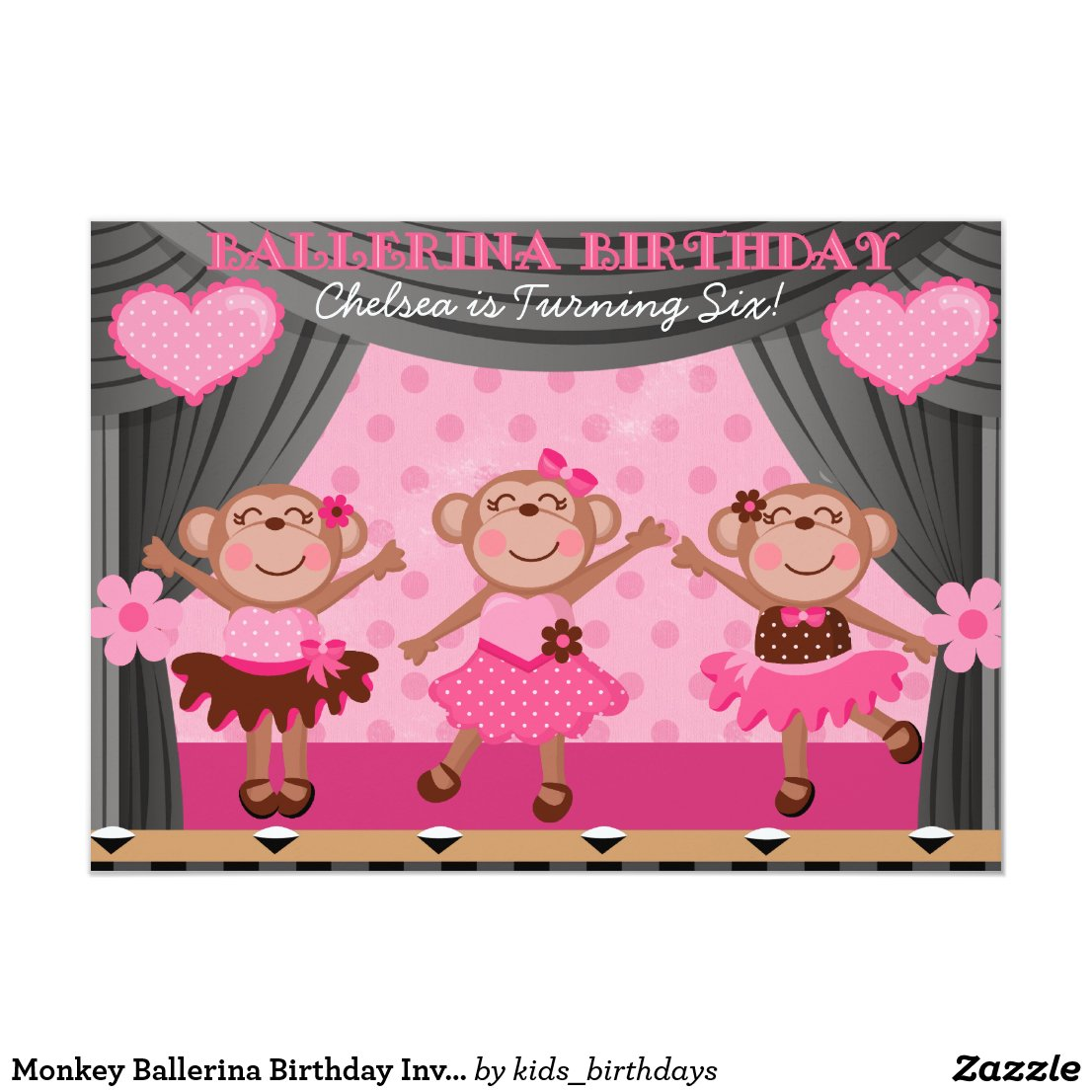 Monkey Ballerina Birthday Invitations