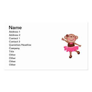 Monkey Ballerina Double-Sided Standard Business Cards (Pack Of 100)