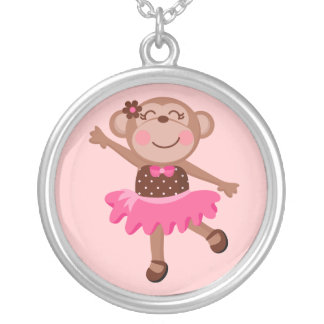 Monkey Ballerina Silver Plated Necklace