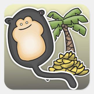 Monkey Balloon Square Sticker