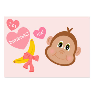 Monkey Bananas 4 You Children's Valentines Cards Large Business Card