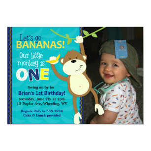 Monkey first birthday invitations announcements zazzle monkey bananas first birthday photo invitations filmwisefo Image collections