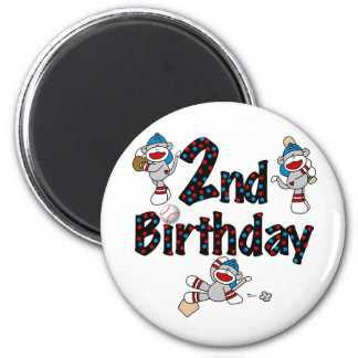 Monkey Baseball 2nd Birthday Tshirts and Gifts 2 Inch Round Magnet