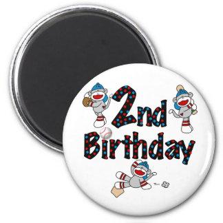 Monkey Baseball 2nd Birthday Tshirts and Gifts Magnet