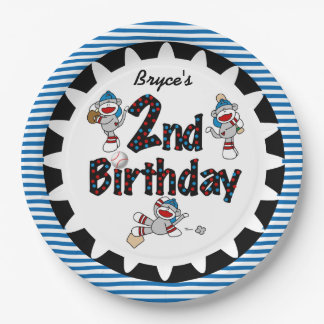 Monkey Baseball 2nd Happy Birthday Paper Plates