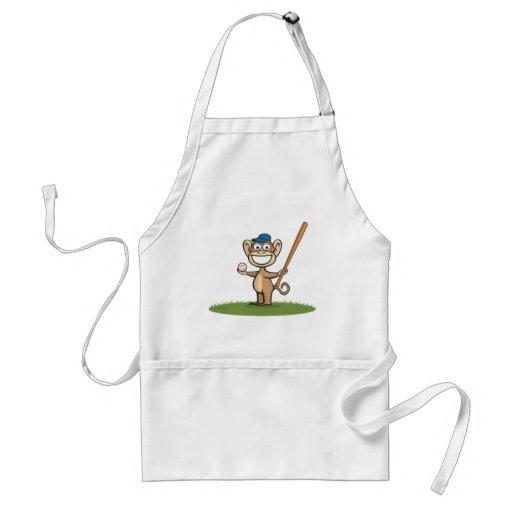 Monkey Baseball Adult Apron