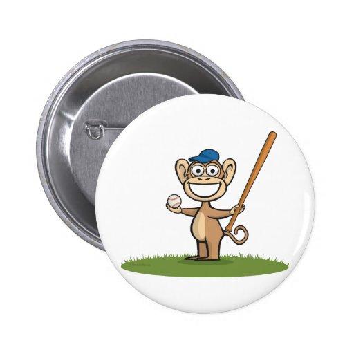 Monkey Baseball Button