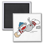 Monkey Baseball Diving into Base Tshirts and Gifts Fridge Magnet