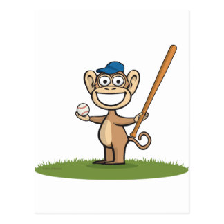 Monkey Baseball Postcard