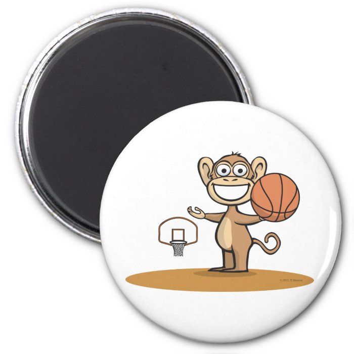 Monkey Basketball 2 Inch Round Magnet