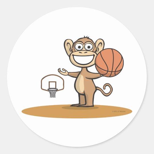 Monkey Basketball Classic Round Sticker