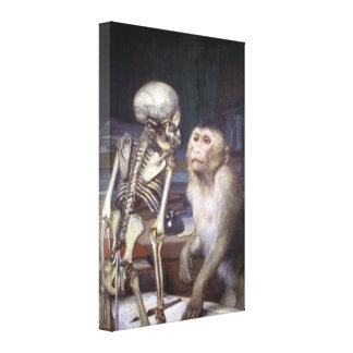 Monkey Before Skeleton Canvas Print