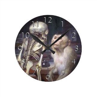 Monkey Before Skeleton Round Clock