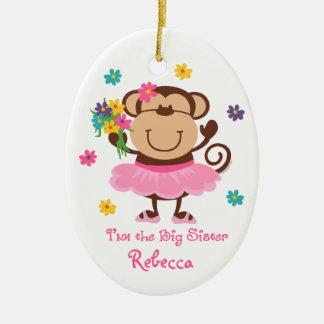 Monkey Big Sister Personalized Ornament