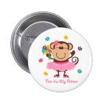 Monkey Big Sister Pinback Buttons