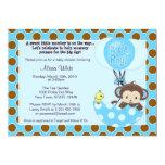 "Monkey Birdie Umbrella Baby Shower Invitation 5"" X 7"" Invitation Card"