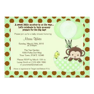 Monkey Birdie Umbrella Baby Shower Invitation