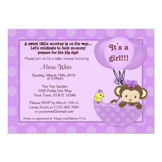 Monkey Birdie Umbrella Baby Shower Invitation