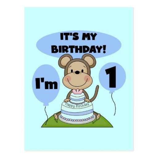Monkey Birthday Boy 1st Post Cards