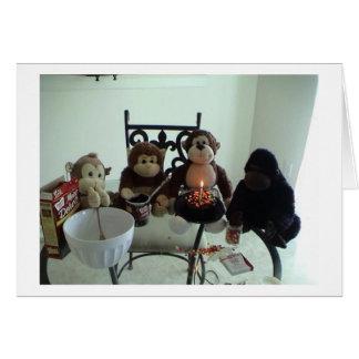 Monkey Birthday Cake Greeting Card