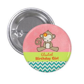 Monkey Birthday Girl Cute Kawaii Pinback Button