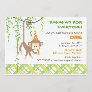 6 - Sock Monkey birthday invitation Print Your Own