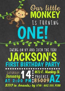 Monkey 1st birthday invitations zazzle monkey birthday invitation filmwisefo